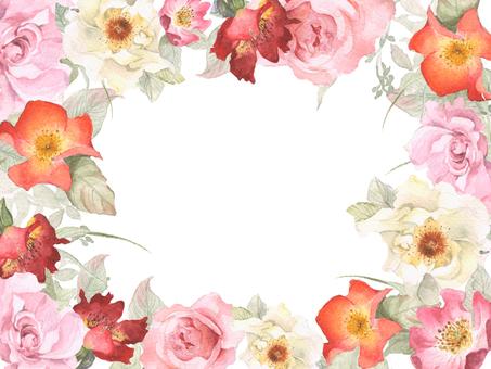 Bright single-rose flower frame frame