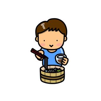 Illustration of a son eating a somen