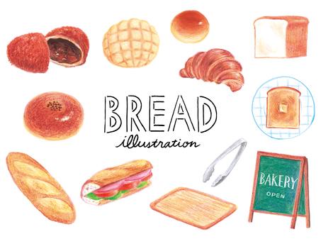 Bread drawn with colored pencils