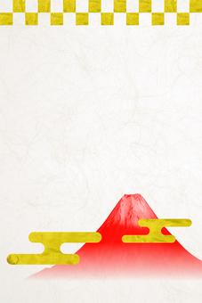 New Year's card material - Washi Fuji vertical