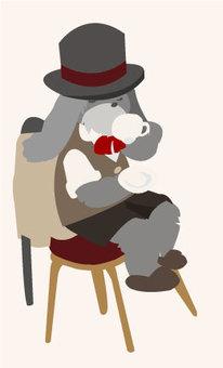 Rabbit gentleman's tea break