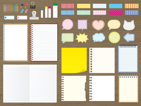 Stationery set on old wood (png without background)