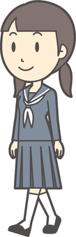 Junior high school sailor woman-350-whole body