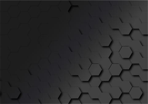 黒六角形のデジタル幾何学模様抽象背景素材