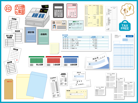 Illustration of accounting, accounting, cash register, documents, slip