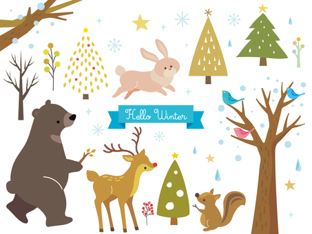 冬季動物插圖