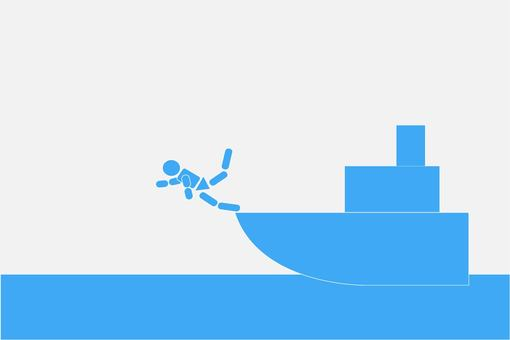Pictogram falling from the ship