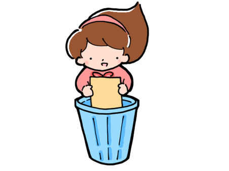 Girl throwing away trash (front)