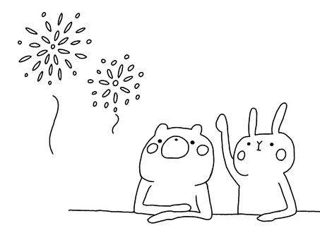Fireworks and bear 1 and rabbit 1