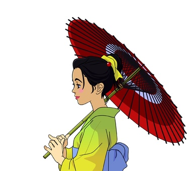 Image of a woman holding a Japanese umbrella - 00B