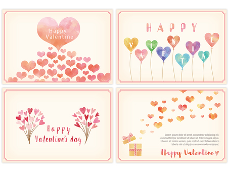 Four types of valentine card with watercolor touch