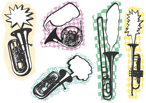 Brass instrument with speech bubble