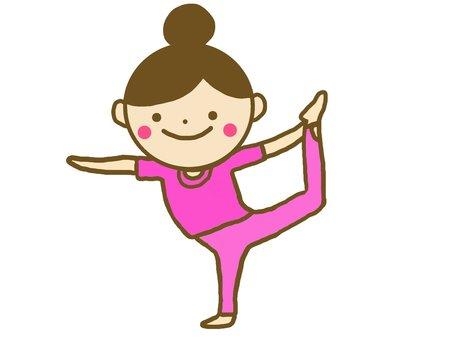 A yoga posing woman