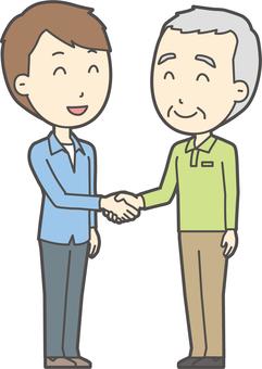 老人男性握手-030-全身