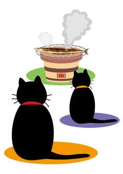 Autumn sweetfish (Autumn sweetfish and cat ② black cat parent-child)