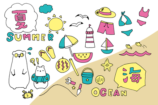 Summer material _ sea (pink base)