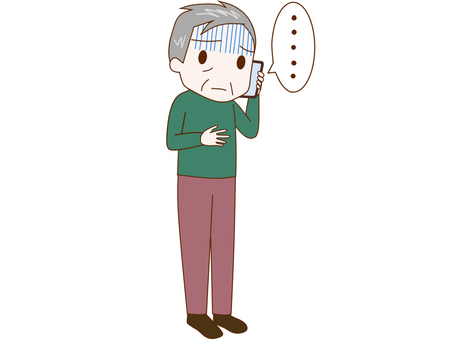 An old man who talks with a smartphone