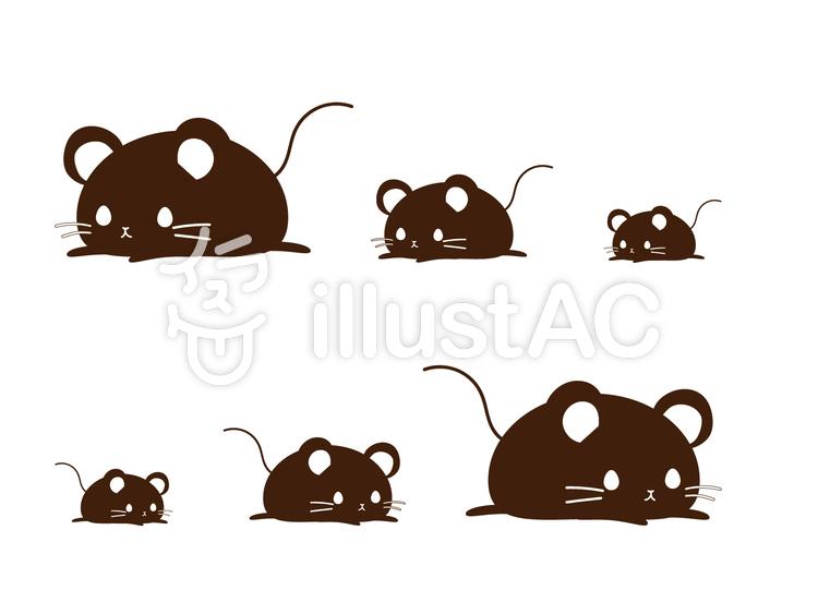 寝そべるネズミの親子 シルエットイラスト , No 1509725/無料