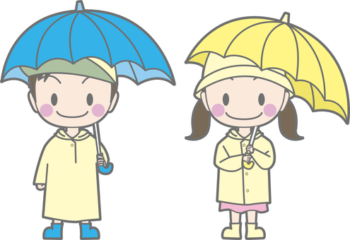 Boys and girls wearing raincoats