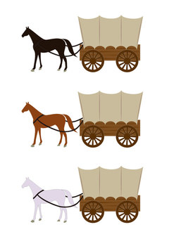 Horse-drawn carriage (covered carriage 3-color set)