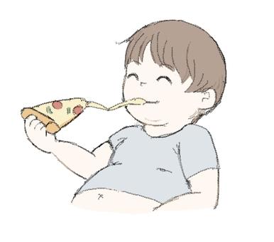 ピザを食べるメタボ男性