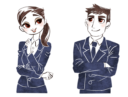 A clean young man and woman wearing a job hunting suit