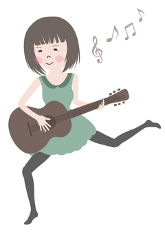 A girl playing the guitar 3