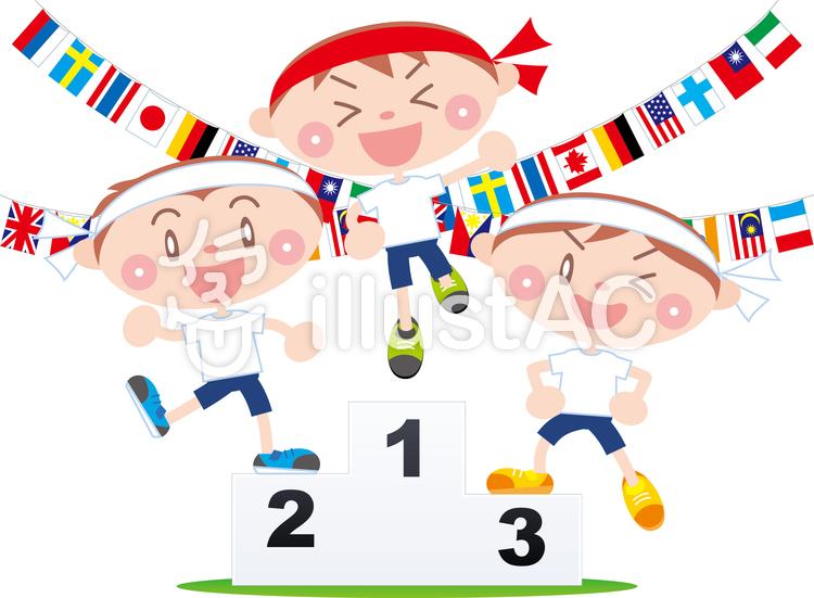 運動会  表彰台  万国旗のイラスト