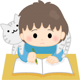 Cat disturbing kids homework