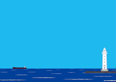 灯台 海 フレーーム 風景