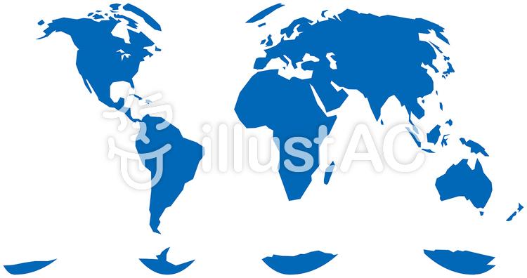 グード図法世界地図-単純化のイラスト