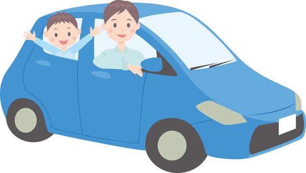 Families riding a car