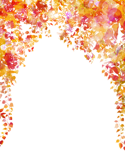 Hand-painted watercolor green arch longitudinal / autumn leaves