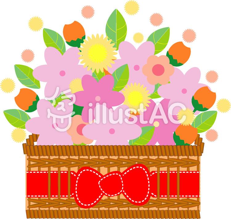 赤いリボンの花かご イラスト No 129549無料イラストならイラストac