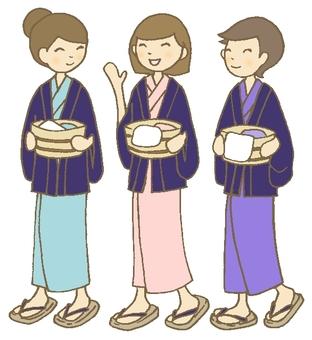 溫泉街 女性三人