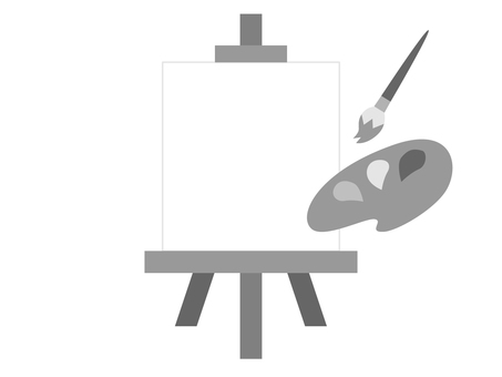 Easel, brush and palette (monochrome)