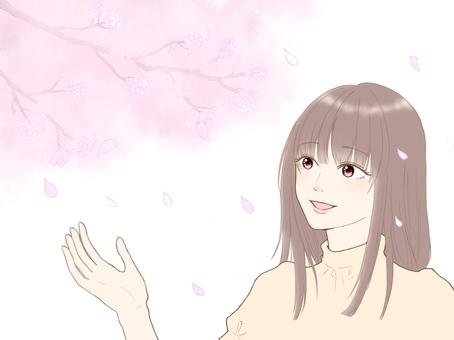 一個女人享受櫻花