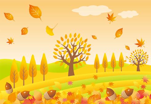 Seasonal background of fallen leaves