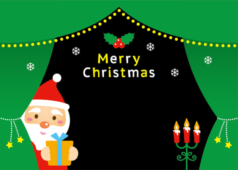 Santa curtain frame