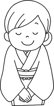 Line drawings Japanese costume waitress to bow