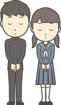 Junior high school student gender set-040-whole body