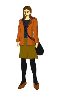 A woman in autumn clothes