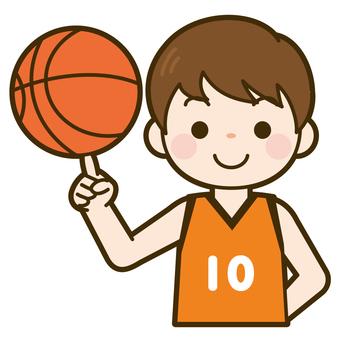 バスケットボールを回す男の子