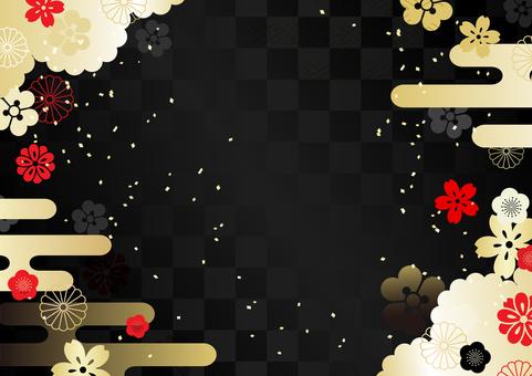 Japanese Pattern Golden Black Land Red Cherry Chrysanthemum