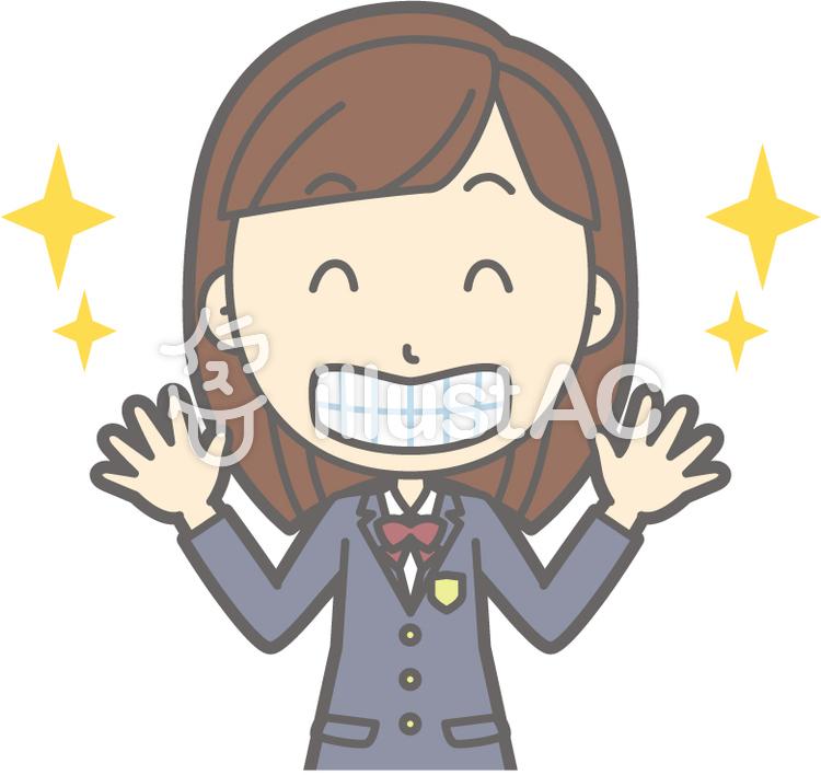 女子高生冬a 歯が綺麗 バストイラスト No 884766無料イラストなら