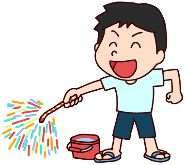 Illustration of a boy playing fireworks