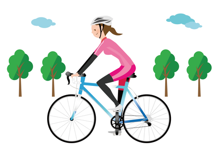 A woman riding a road bike