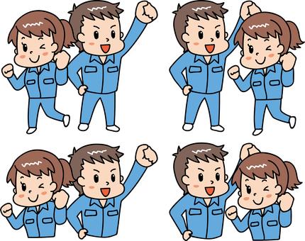 性格开朗的男性/工人穿蓝色