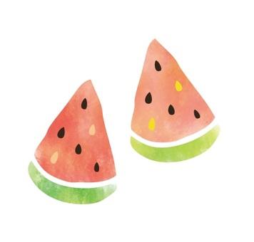 Retro watermelon watercolor style