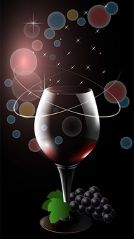 Vertical wallpaper of wine glasses and grapes